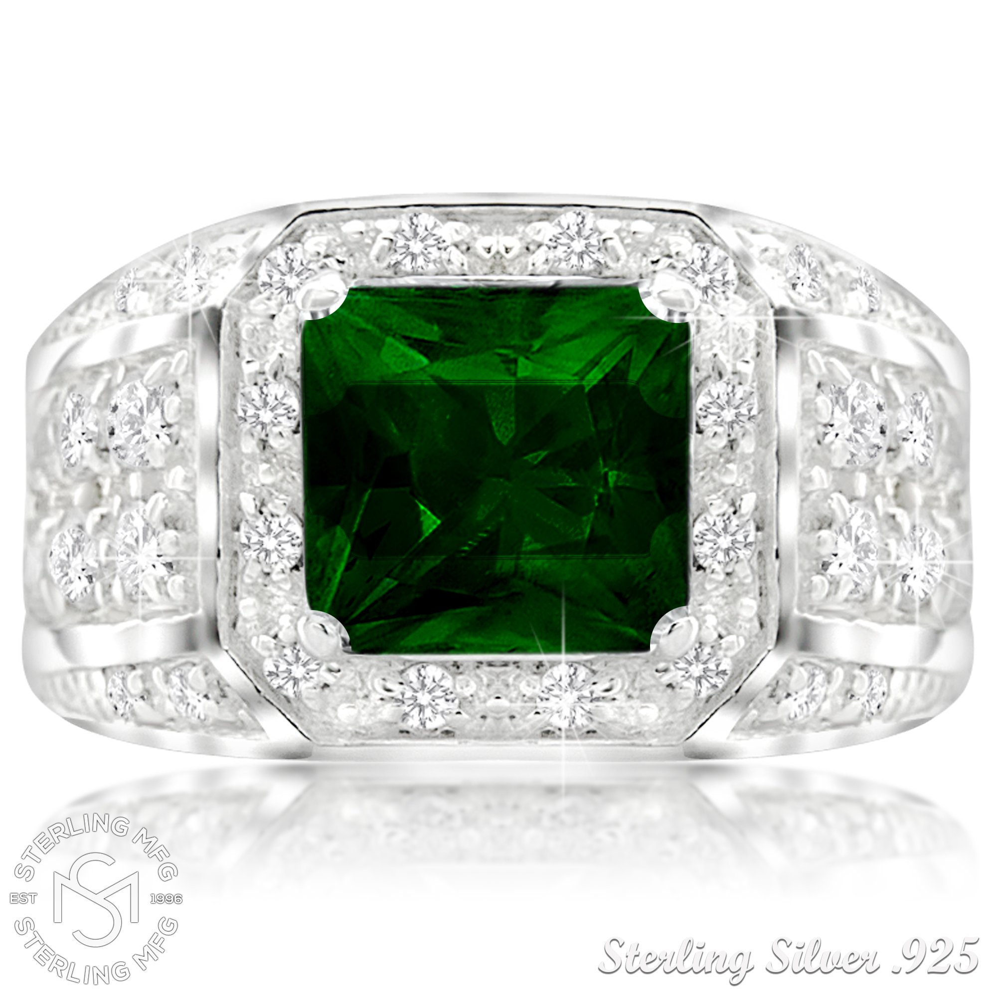 Men's Elegant Sterling Silver .925 Ring High Polish Princess Cut Featuring a Synthetic Green Emerald and 32 Fancy Round Cubic Zirconia (CZ) Stones by Sterling Manufacturers (Image #3)