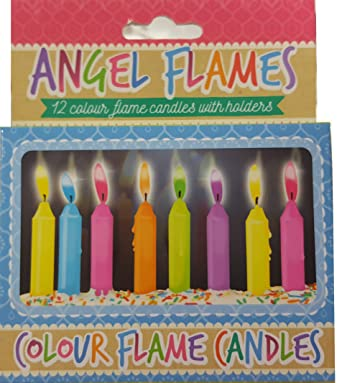Wondrous Henbrandt Coloured Birthday Cake Candles Pack Of 12 Amazon Co Funny Birthday Cards Online Hetedamsfinfo