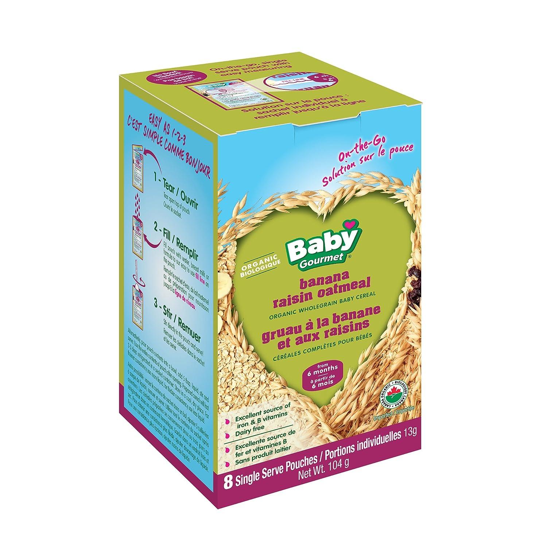 Baby Gourmet Banana Raisin Oatmeal Cereal Singles, Green, 13-Gram X 8, 1-Pack BROASGLCSCD0008