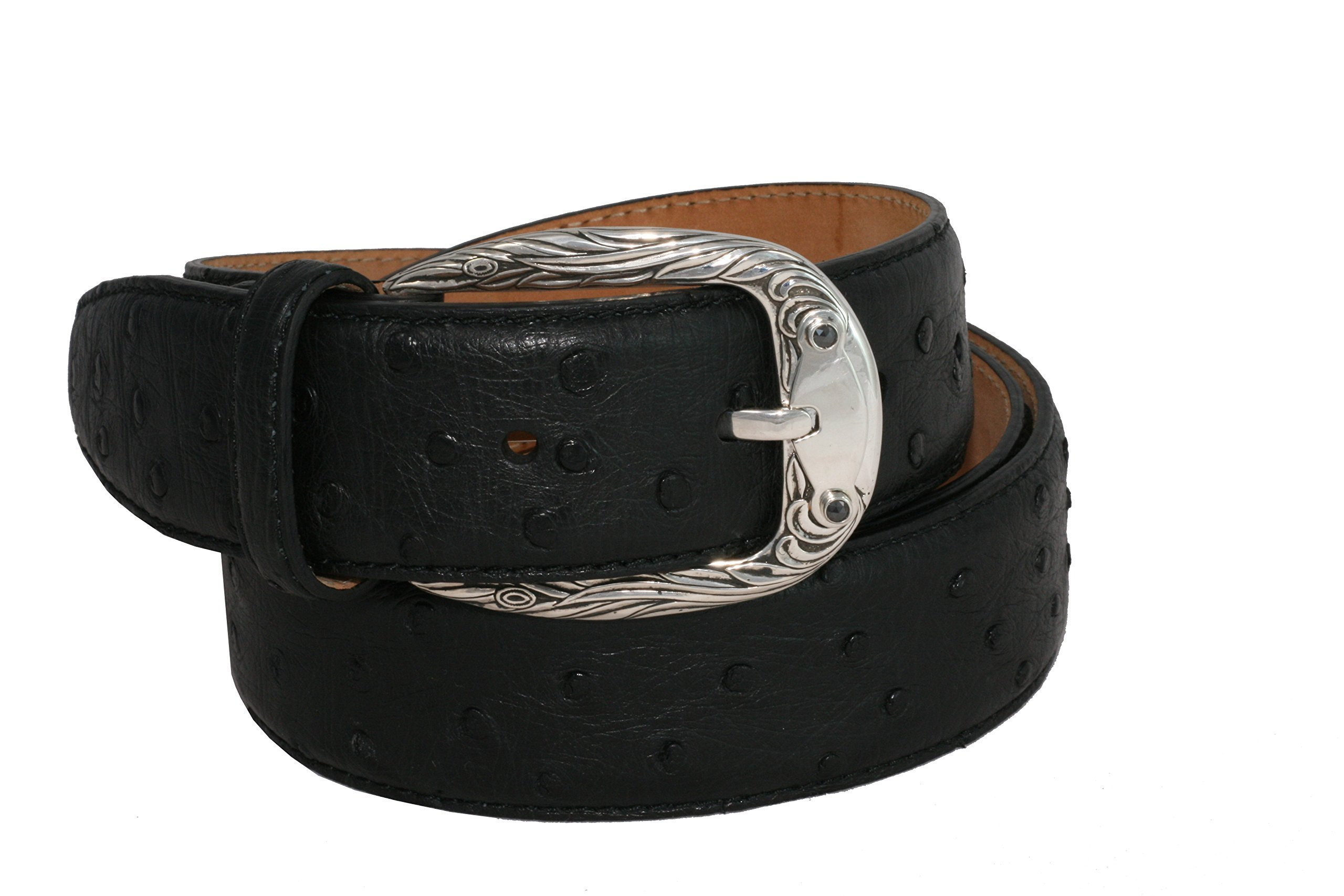 Belt by Urso Luxury buckle in Sterling silver with 2 black Diamonds in Ostrich Skin