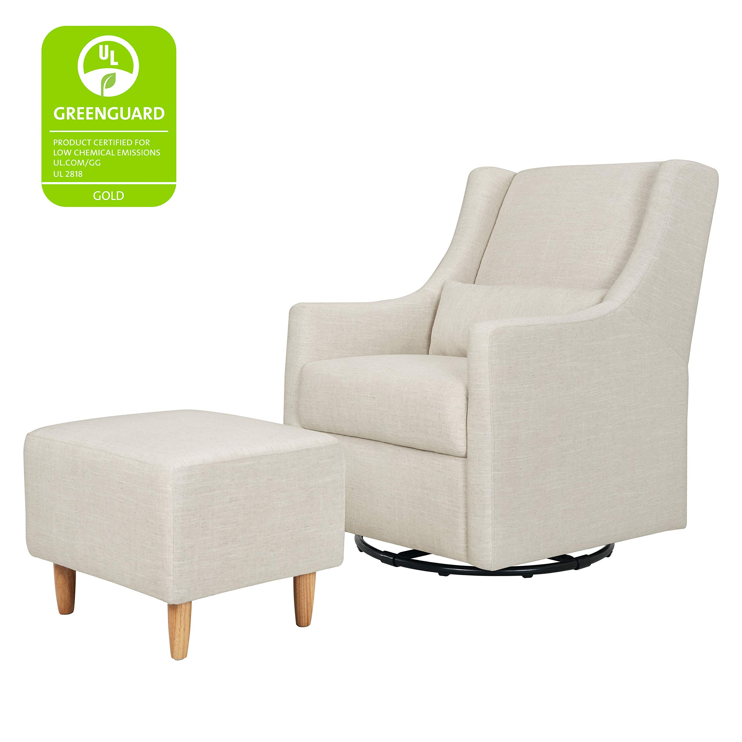 Babyletto Toco Upholstered Swivel Glider and Stationary Ottoman, White Linen by Babyletto