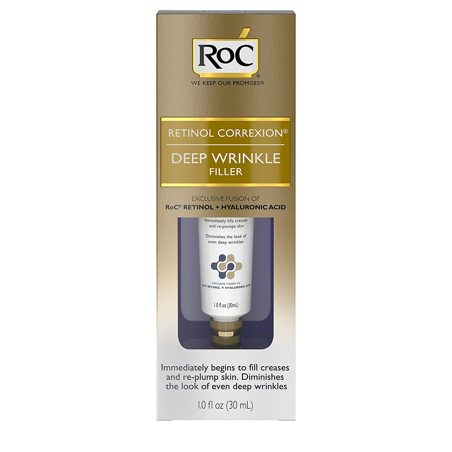 RoC Retinol Correxion Deep Wrinkle Facial Filler, Anti-Aging Treatment with  Hyaluronic Acid and Retinol, Non