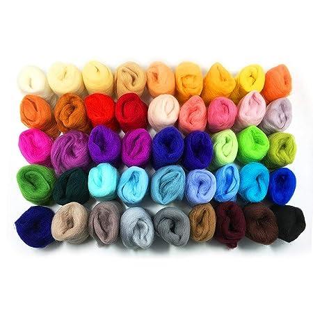 Gnognauq 36 Colours 3g//Colour Needle Felting Wool Fibre Wool Yarn Roving With Felting Needles Kit and wood Handle ideal for DIY Needle Felting