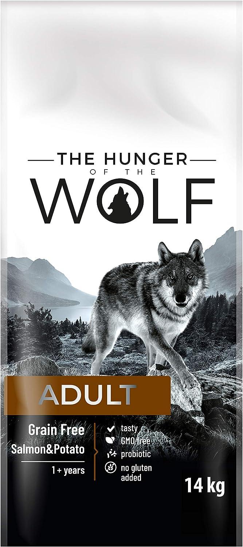 The Hunger of The Wolf Alimento seco para perros adultos sin cereales, con salmón y patatas, para todas las razas, para perros alérgicos, 14 kg