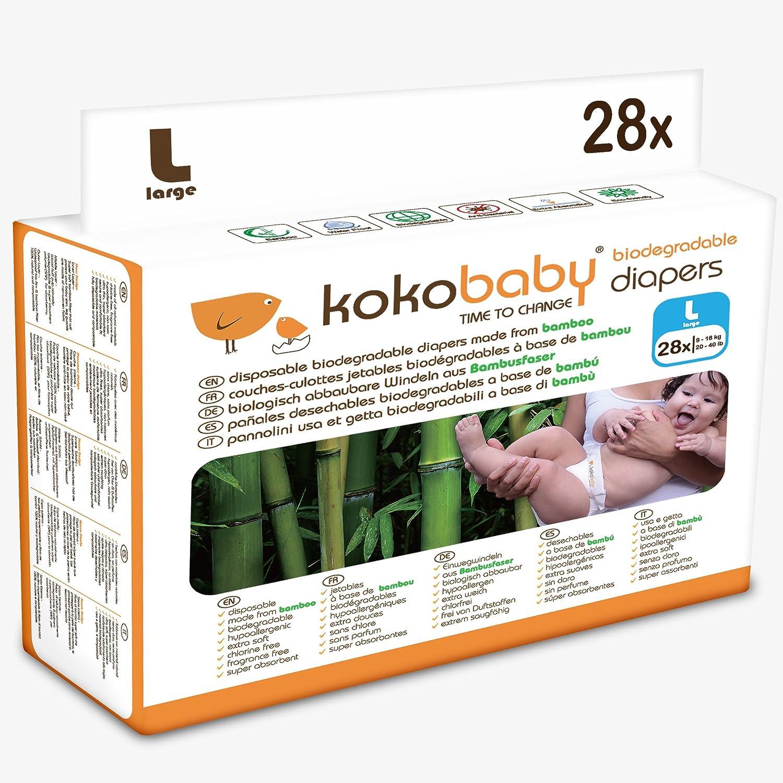 KokoBaby- Pañal desechable biodegradable para bebé (Talla L ...