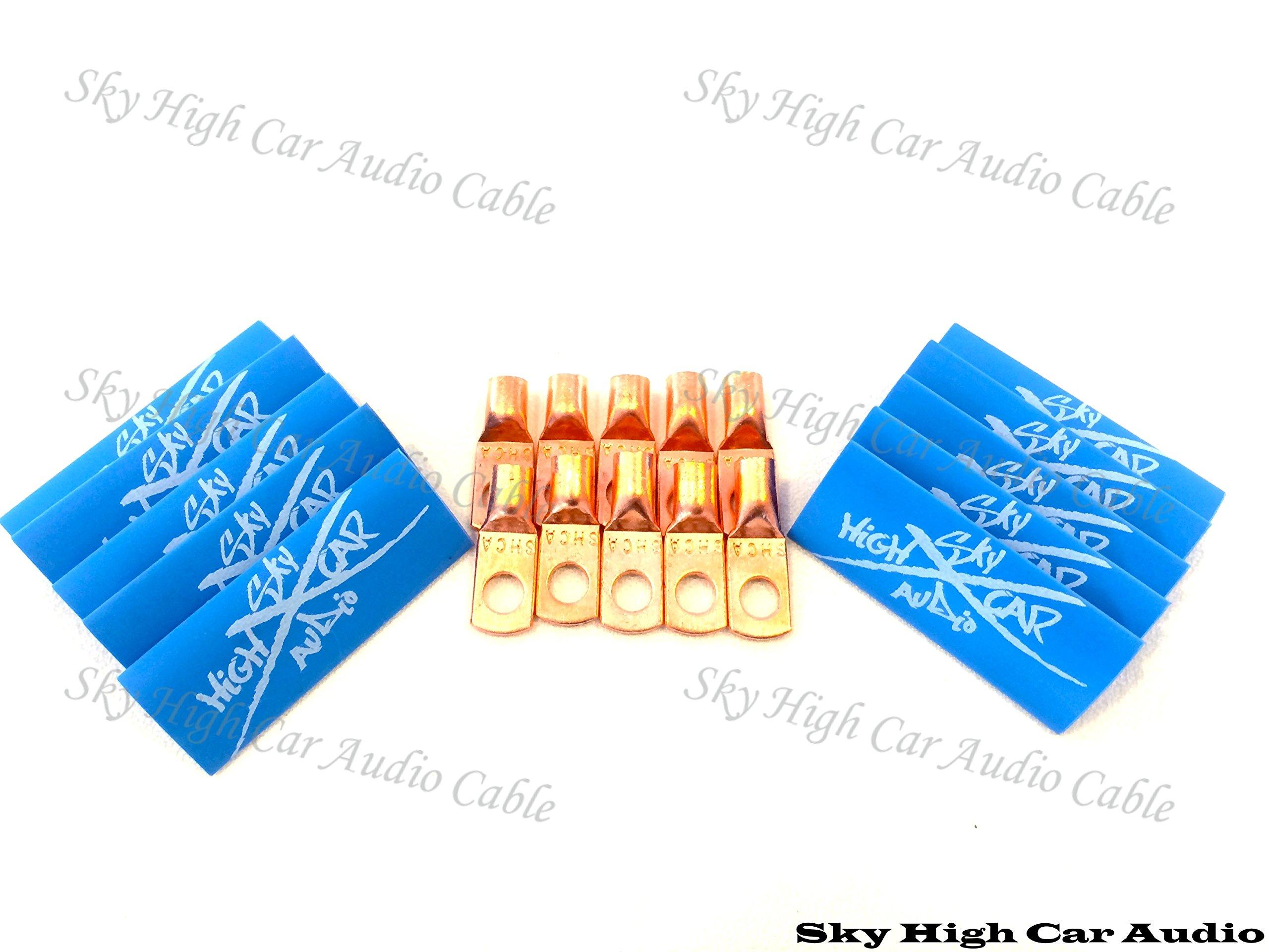 (10) 4 Gauge Copper Ring Terminals 1/4'' Blue Heat Shrink Tubing Lugs