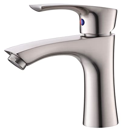 KINGO HOME Contemporary Stainless Steel Single Hole Lavatory Single Handle  Brushed Nickel Bathroom Faucet, Hot