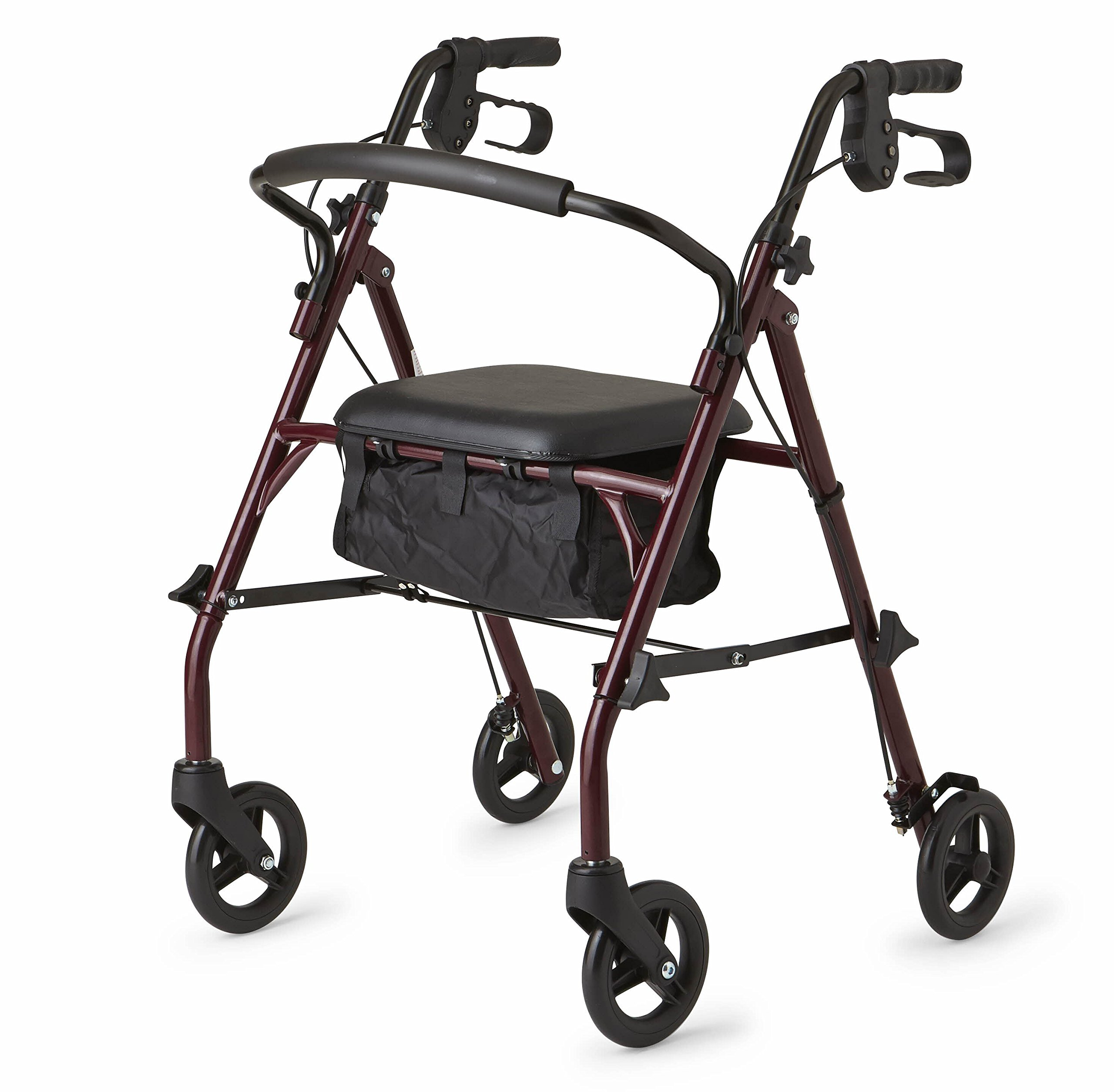 Healthcare Direct 100RA Steel Rollator Walker with 350 lb. Weight Capacity, Burgundy by Healthcare Direct