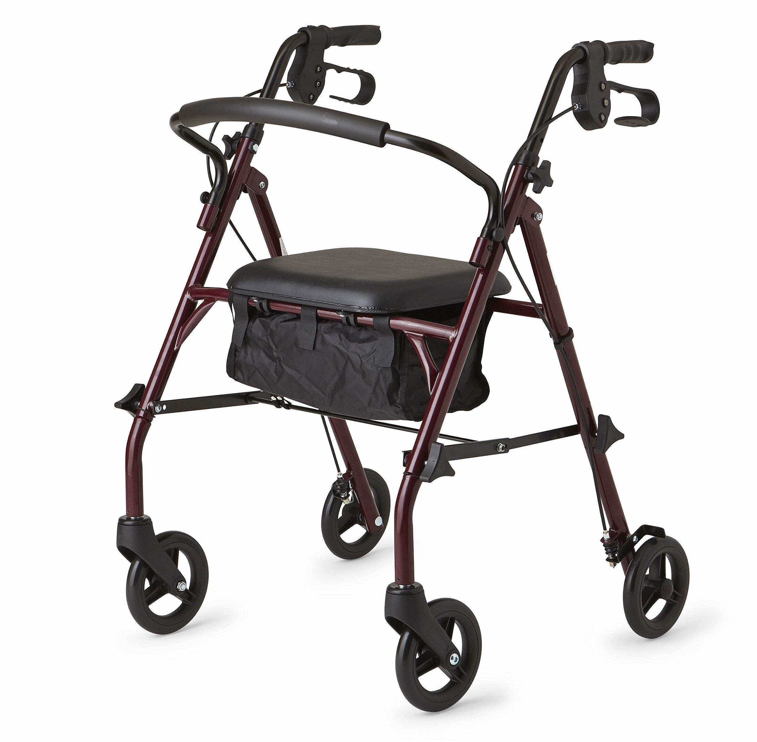 Healthcare Direct 100RA Steel Rollator Walker with 350 lb. Weight Capacity, Burgundy