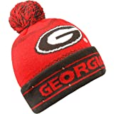 fa62c8d57e8 Georgia Adult Size Winter Knit Beanie Hats (Black Red Striped) at ...