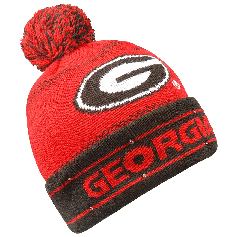 Amazon.com   Forever Collectibles NCAA Georgia Bulldogs LED Pom Pom Knit Hat 89f647b6e01