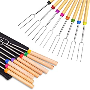Ezire Roasting Sticks, Marshmallow Roasting Sticks 32 Inch Extendable Forks for BBQ at The Campfire (Multi-8 Pack)