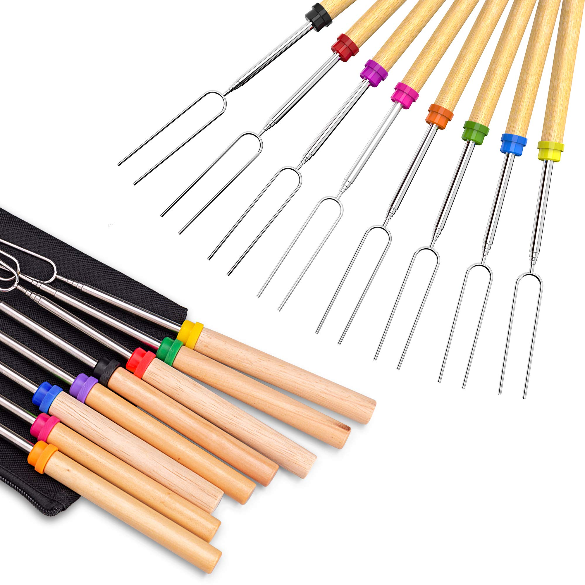 Roasting Sticks, Ezire Marshmallow Roasting Sticks 32 Inch Extendable Forks for BBQ at the Campfire, Set of 8 by Ezire