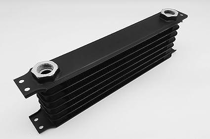 Image ofAutobahn88 El aceite universal/Automatic Transmission Fluid ATF Cooler, de 7 filas, compacto Tamaño de base 11.8x3.74x2(300x95x50mm), M22 Puertos, incluye dos adaptadores -10AN M22, Negro