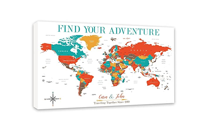 Amazon personalized world map push pin map on canvas world personalized world map push pin map on canvas world travel map art by artist amber mcdowell gumiabroncs Image collections