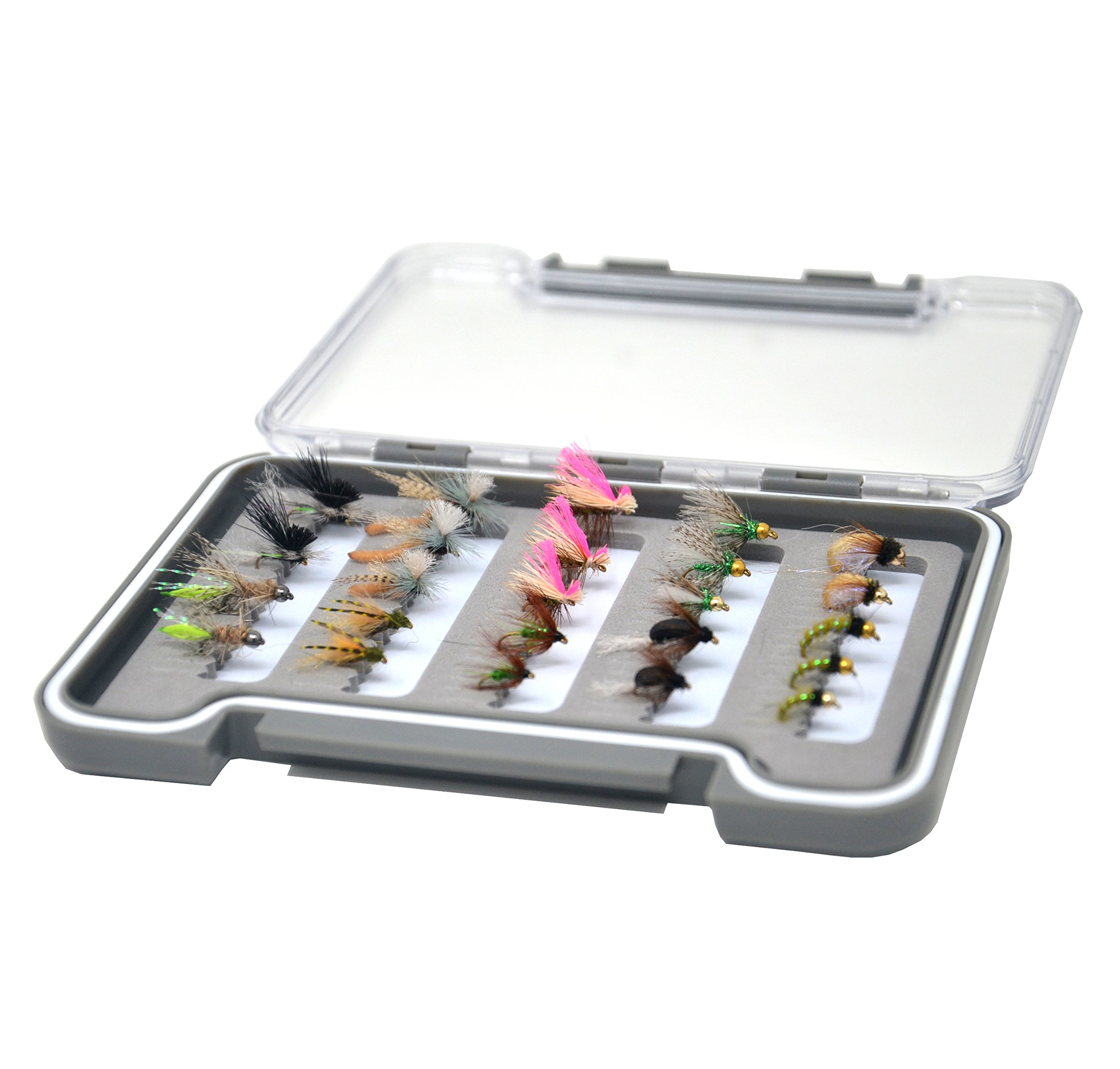 Outdoor Planet 24Pieces Caddis Dry Fly Lure Assotment for Trout Fly Fishing + Slim Waterproof Fly Box by Outdoor Planet