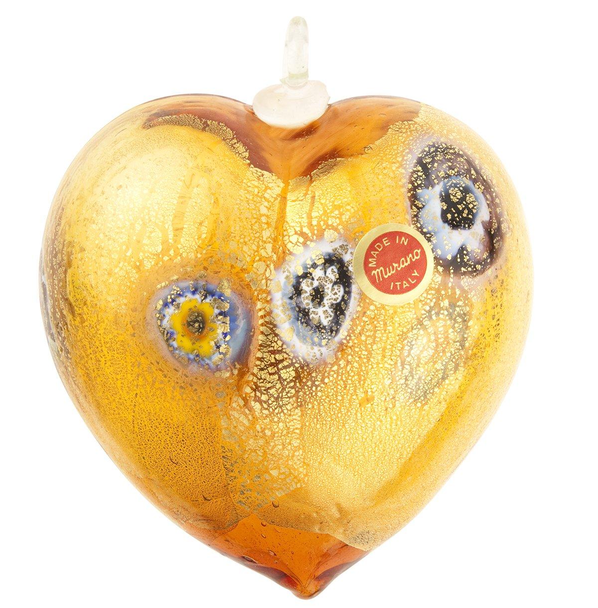 VenetianBeadShop Golden Brown Millefiori 24kt Gold Foil Heart Ornament Mouthblown Murano Glass
