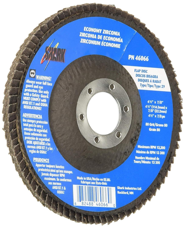 10 Pack Zirconia-60/% Type 29 Shark 46067 4 1//2 x7//8 Abrasive Flap Discs 80 Grit