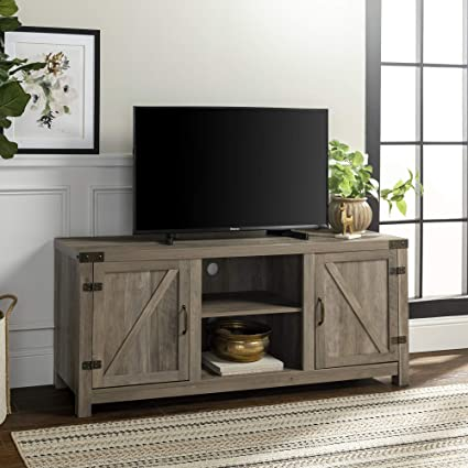 Amazon Com We Furniture W58bdsdgw Barn Door Tv Stand 58 Grey Wash