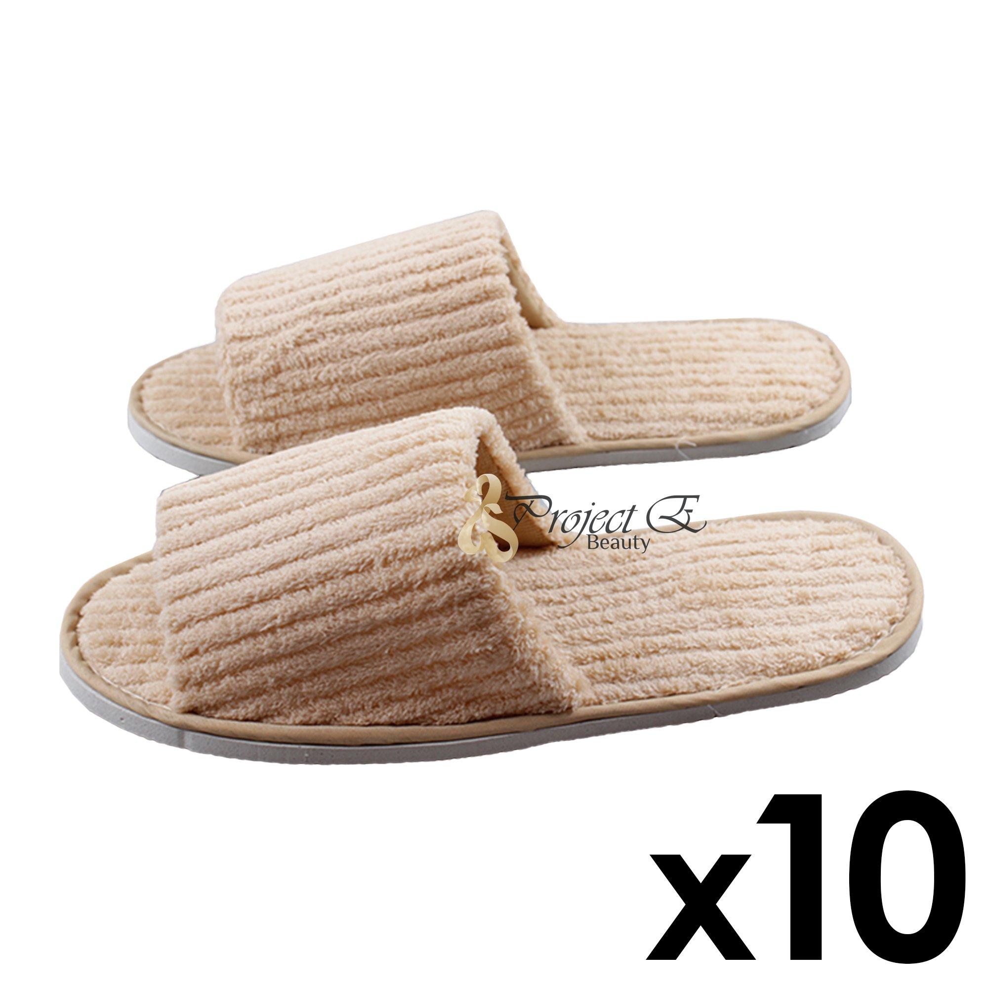 Coral Fleece Striped Slipper Non-Skid Home Salon Spa Hotel Open Toes Unisex Slippers - 10 Pairs - Khaki