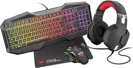 Trust Gaming GXT 1182RW - Paquete Gaming 4 en 1 (Auriculares, Alfombrilla, Teclado y ratón con iluminación) Color Negro: Amazon.es: Informática