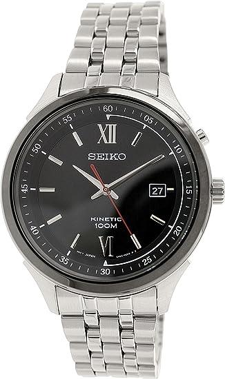 Seiko Kinetic Negro Dial Acero inoxidable reloj para hombre ska659