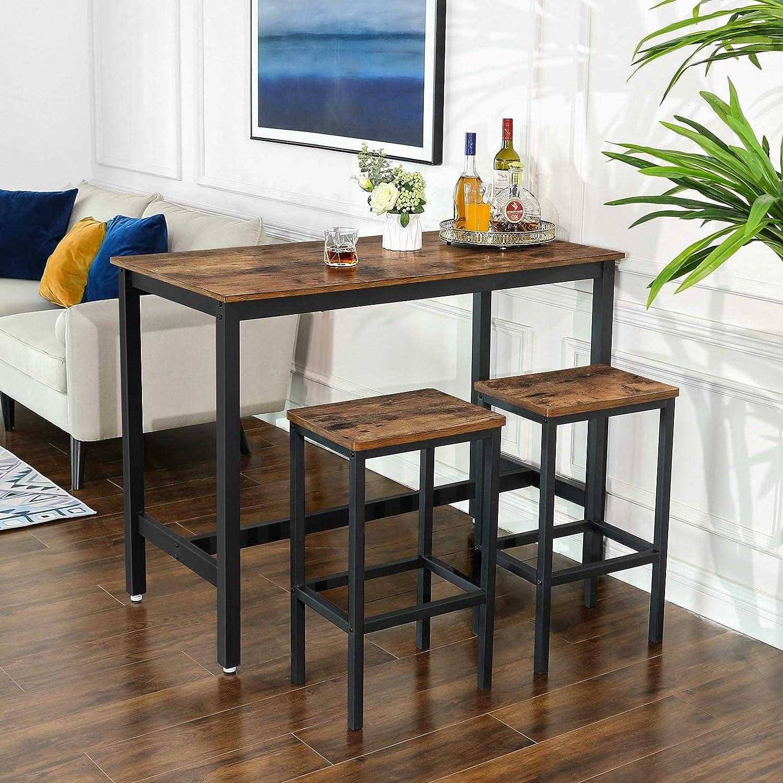 VASAGLE Set di Tavolo da Bar con 2 Sgabelli da Bar per Cucina in Stile Industriale Soggiorno Set di Sedie da Pranzo con Tavolino Stanza da Festa Marrone Vintage LBT15X