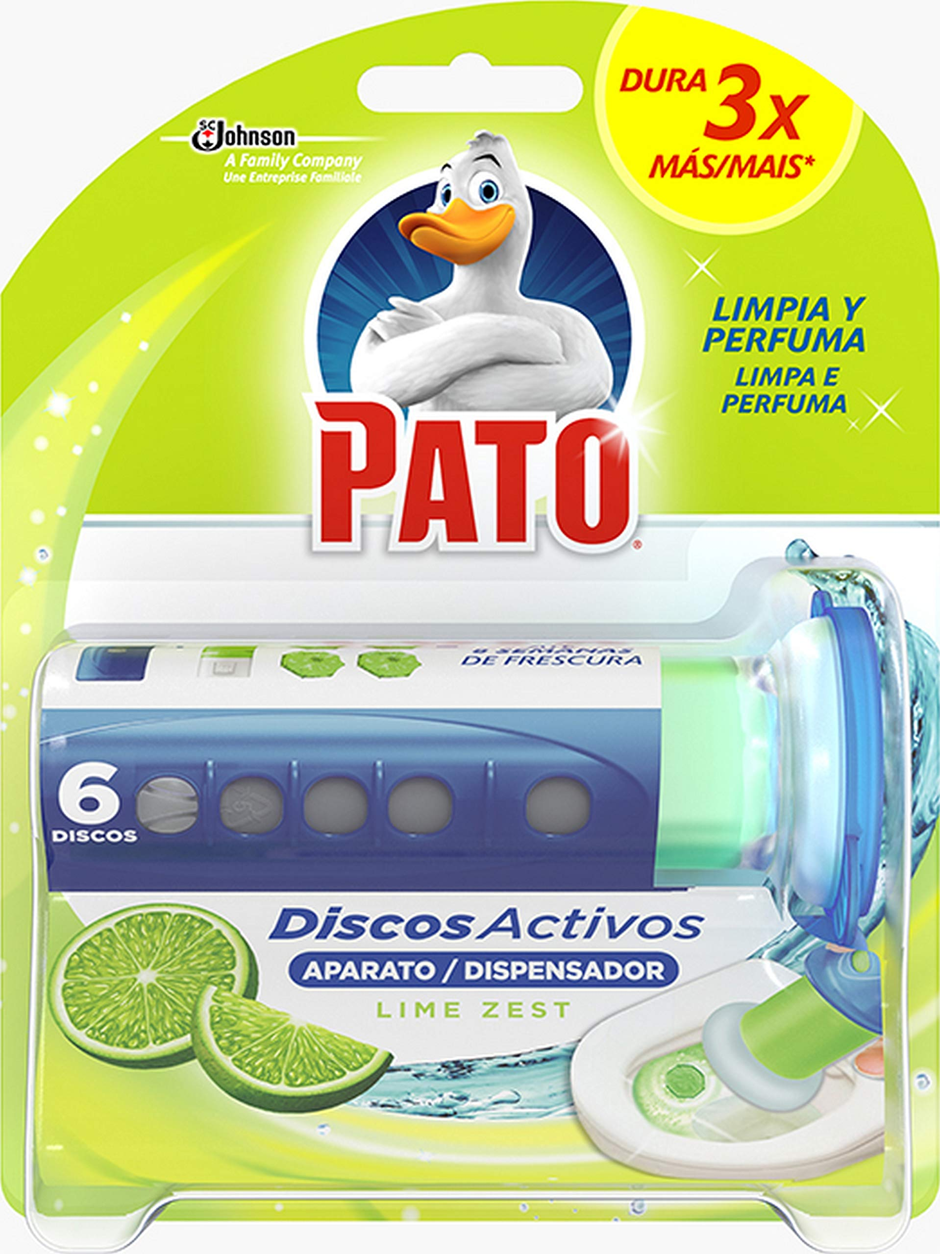 PATO Activos Wc, Aplicador Y Recambio Con, Negro, 1 Aplicador, Lima, 6 Discos