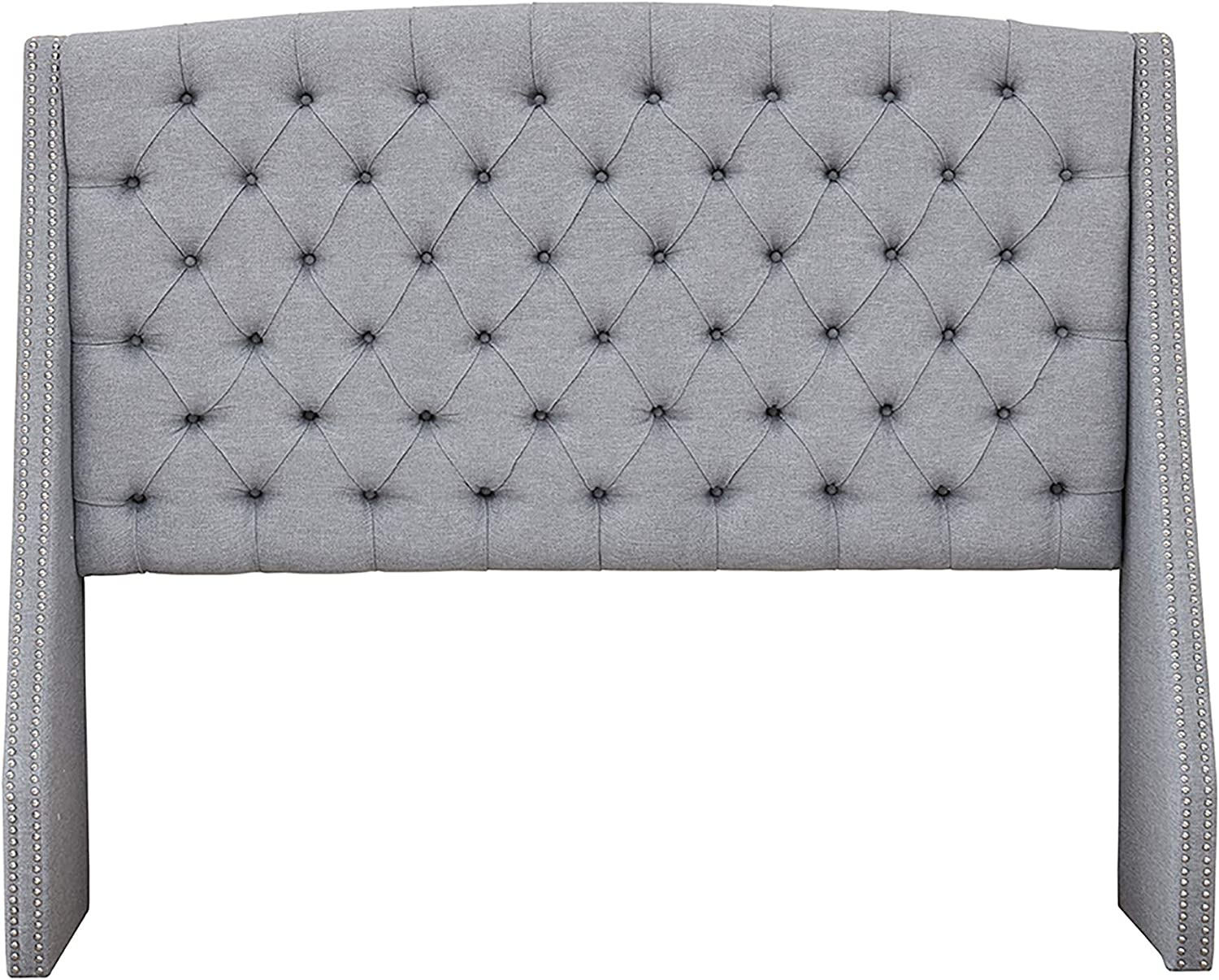 Madison Park Harper Upholstered Nail Head Trim Wingback Button Tufted Headboard Modern Contemporary Metal Legs Padded Bedroom D cor Accent, Queen, Grey