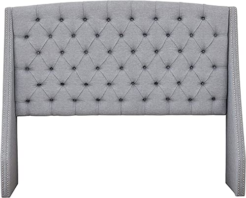 Madison Park Harper Upholstered Nail Head Trim Wingback Button Tufted Headboard Modern Contemporary Metal Legs Padded Bedroom D cor Accent