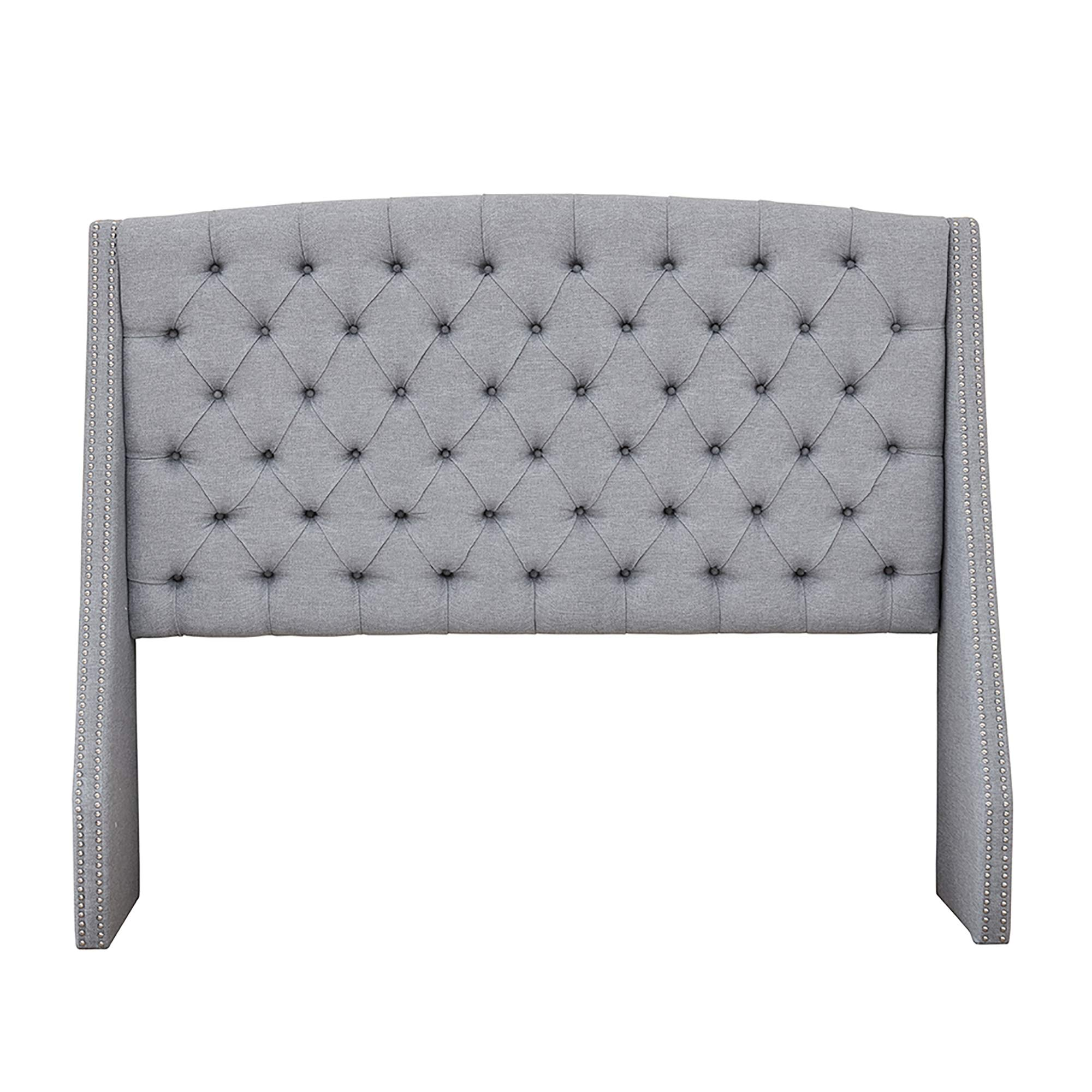Madison Park MP116-0367 Harper Upholstered Nail Head Trim Wingback Button Tufted Headboard Modern Contemporary Metal Legs Padded Bedroom Décor Accent, Queen, Grey by Madison Park