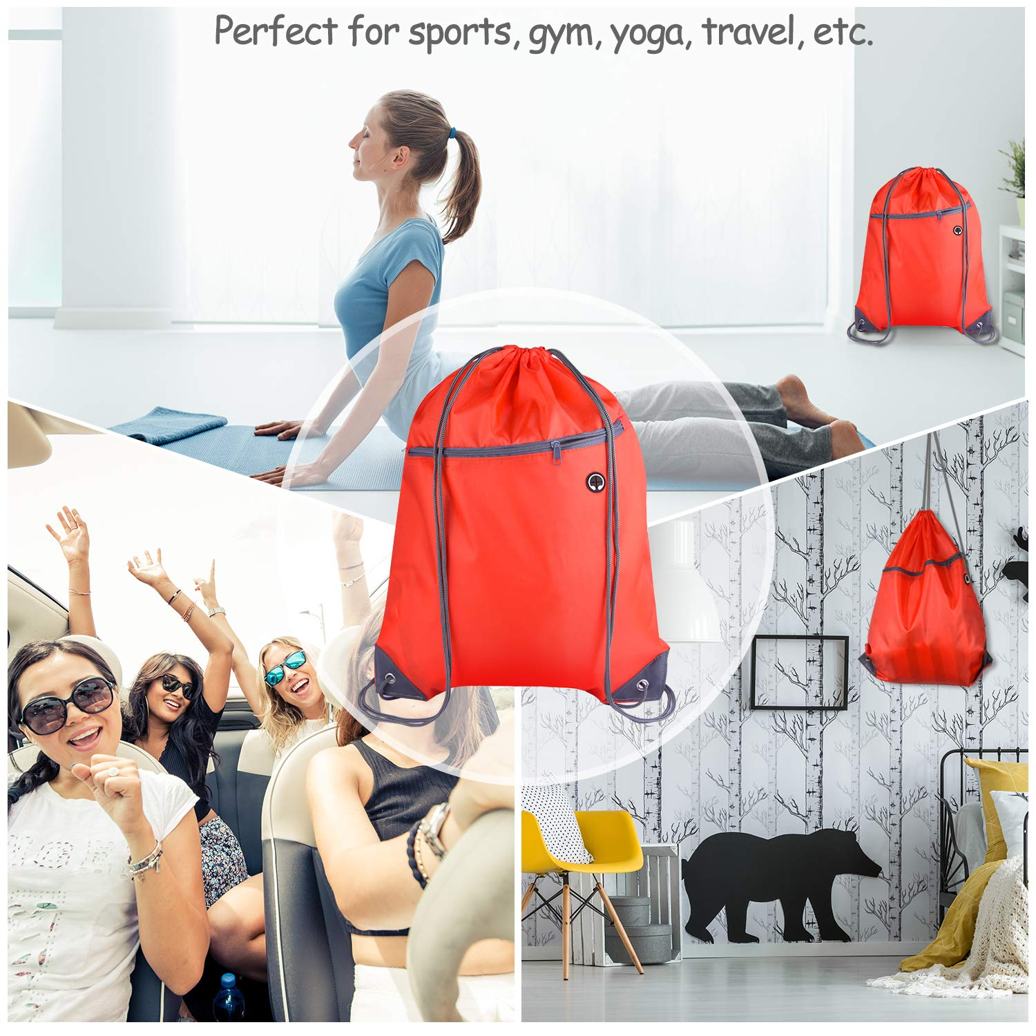 KUUQA 2 Pcs Drawstring Backpack Bags Sports Cinch Sack String Backpack Storage Bags for School Gym Traveling Blue