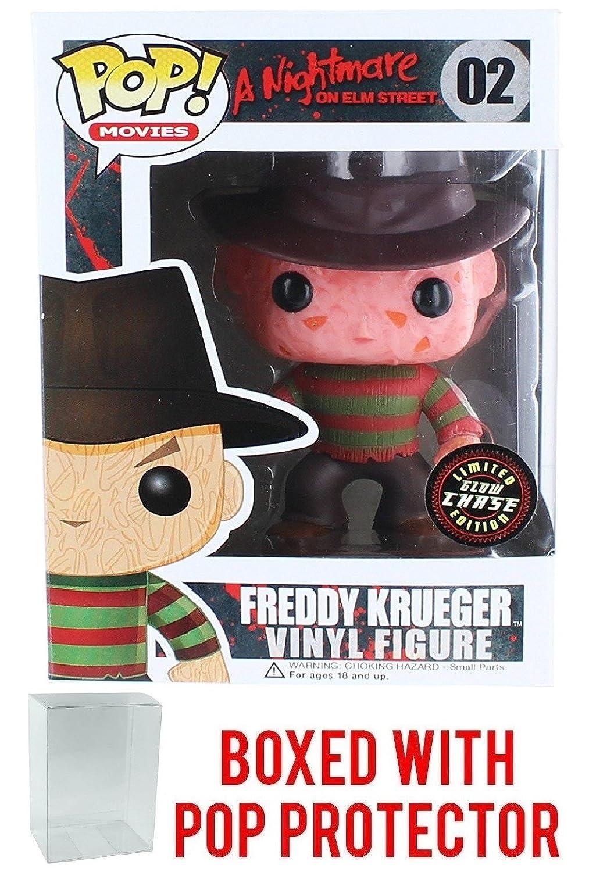 Vinyl Figure Freddy Krueger Bundled with Pop Box Protector Case Movies: A Nightmare on Elm Street Funko Pop Glow in the Dark Chase