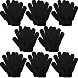 Kids Gloves, 8 Pairs Valentine's Day Winter Knit Gloves Full Finger Stretchy Magic Gloves for Boys and Girls