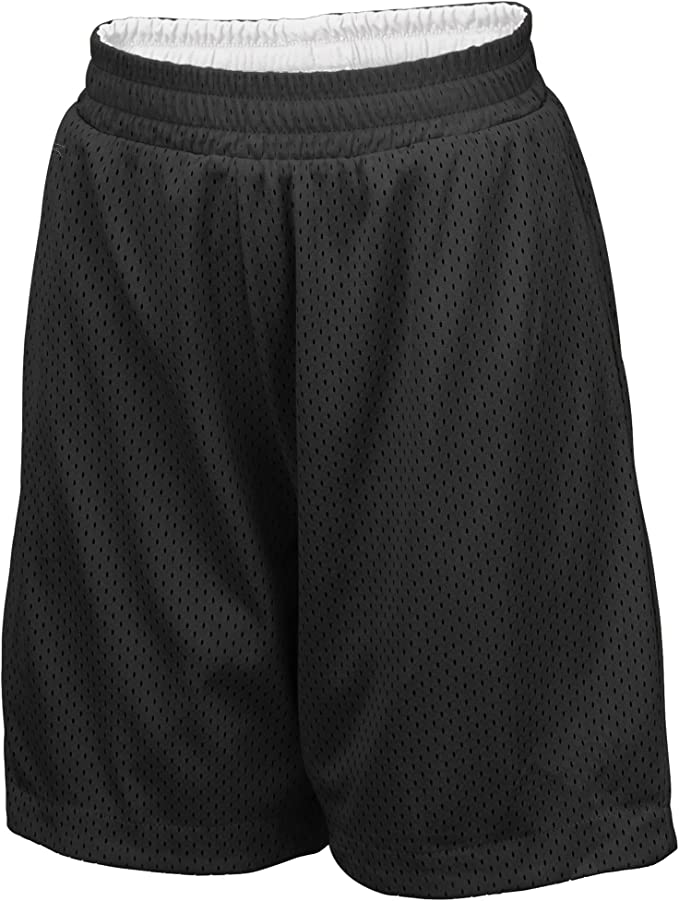 Under Armour BOYS Youth Athletic Basketball Loose Shorts Black Gray Mesh Size L