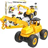 Fun Little Toys Take Apart Toys, 4 in 1 Construction Trucks Vehicle Tractor, Kids DIY Stem Educational Engineering Toy Set, Stem Learning Tools, Birthday Gifts Boys and Girls