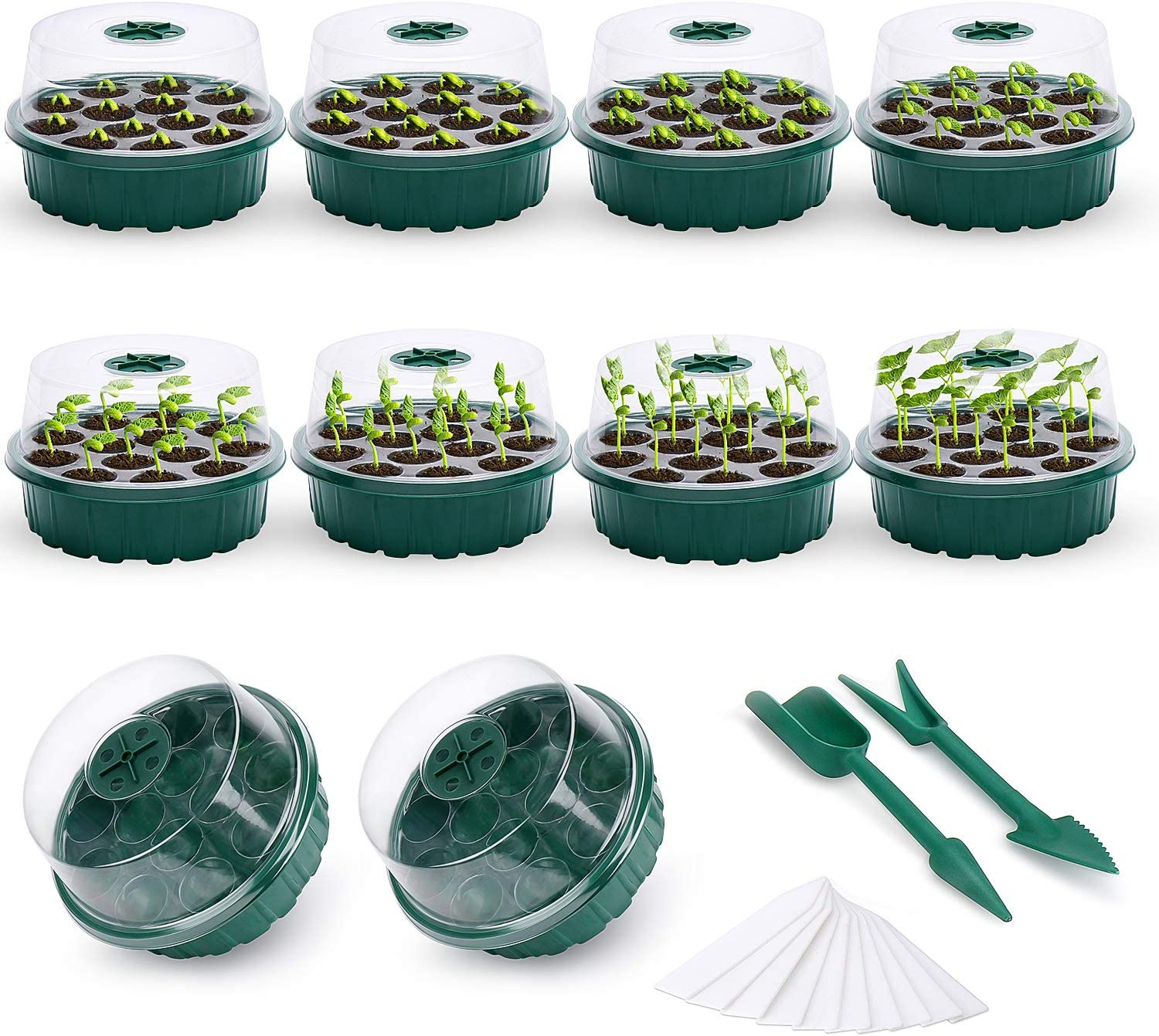 Auburet 10-Pack Seed Starter Tray Seedling Trays Plant Kit, 130 Cells Clear Seeding Starter Tray with Dome Humidity Adjustable, Plant Tags and Hand Tool, for Germination and Greenhouse Grow(10)