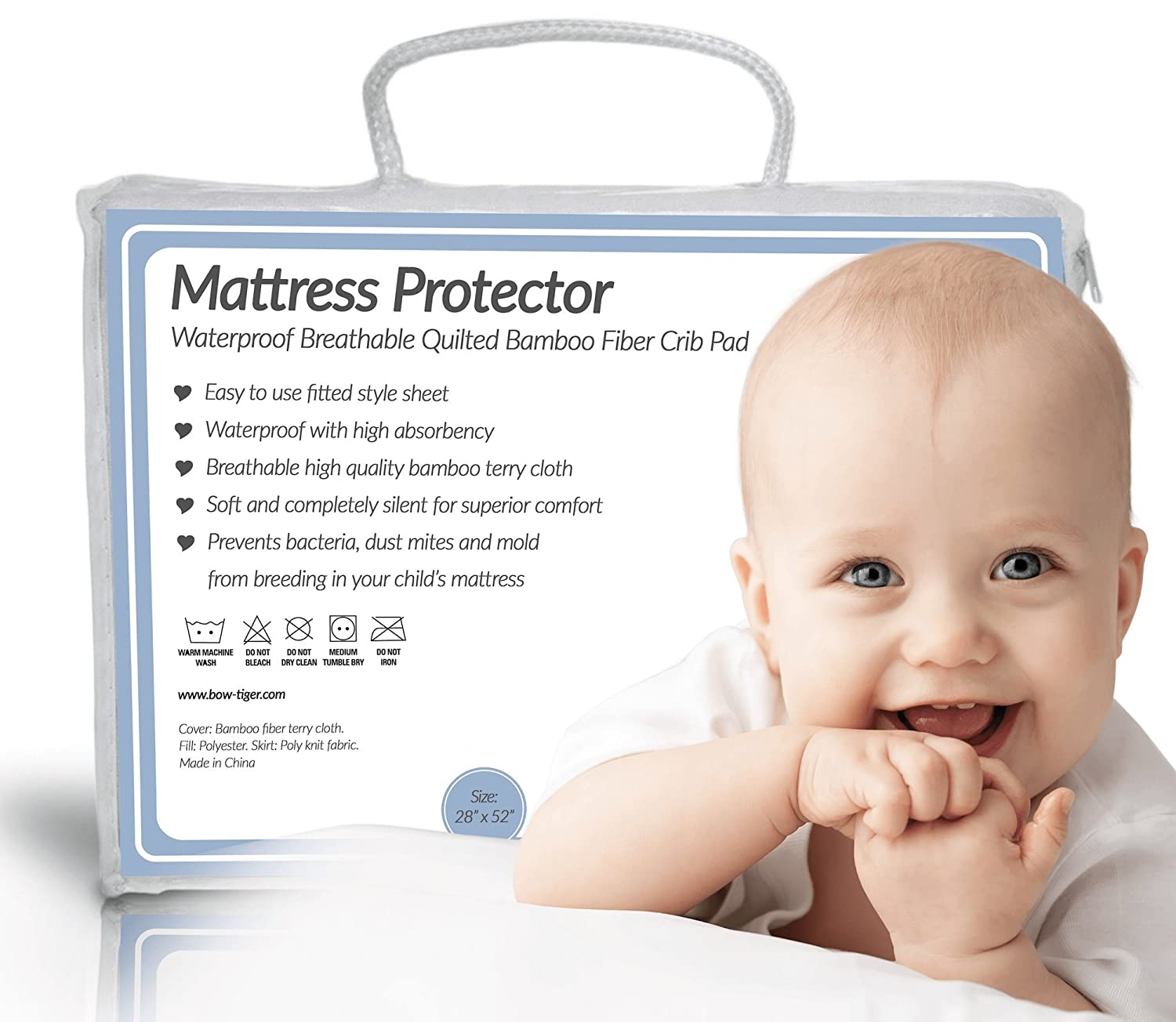 amazon com bow tiger quilted bamboo waterproof crib mattress