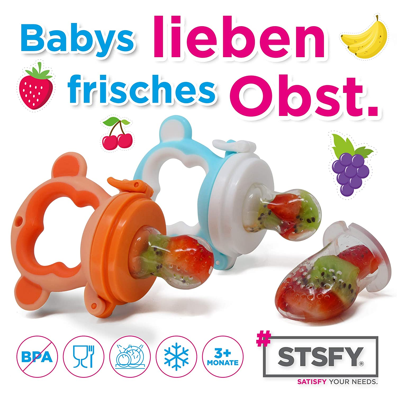 4 Bei/ßringe f/ür Baby /& Kleinkind aus hygienischem Silikon Obst Kau-Spielzeug Beissring Zahnungshilfe Schmerzlinderung Zahnen Sicher /& BPA-frei
