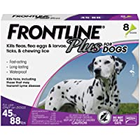 FRONTLINE Plus Flea and Tick Treatment for Dogs (Large Dog, 45-88 Pounds, 8 Doses)