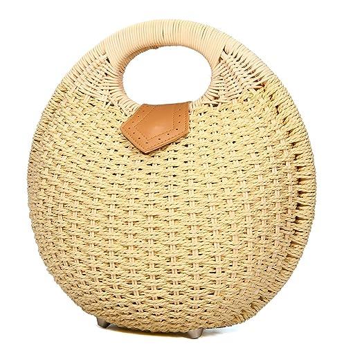 Amazon.com: Bolsa de playa de paja, joseko Mujer rodar bolso ...