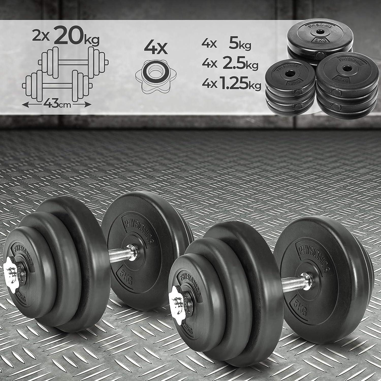Physionics Juego de 2 Mancuernas de Fitness de 40 kg (2 x 20 kg ...