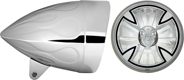 Adjure HB54210 5-3//4 Flamed Chrome Sunset Boulevard Style Sleek Motorcycle Headlight Bucket