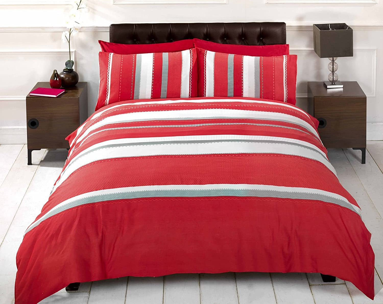 R h linens detroit red grey white striped duvet cover quilt bedding set double bed size