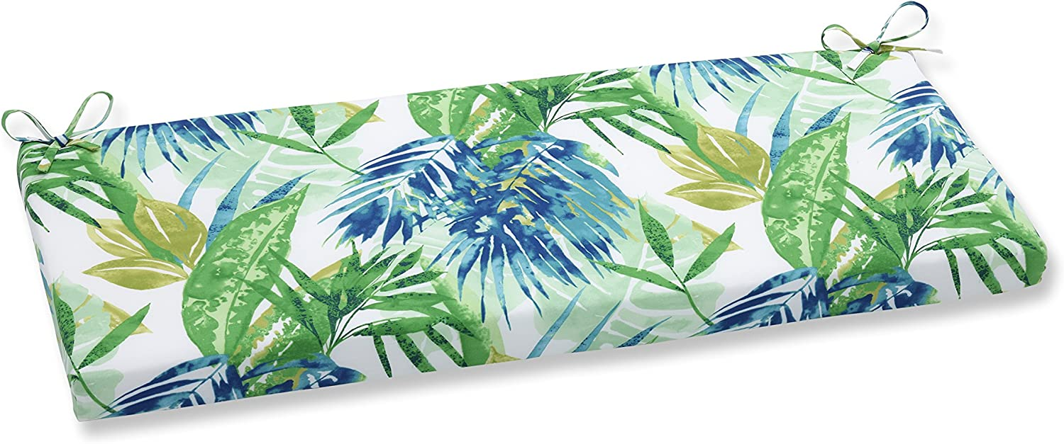 Pillow Perfect Outdoor Indoor Soleil Bench Cushion, Blue Green