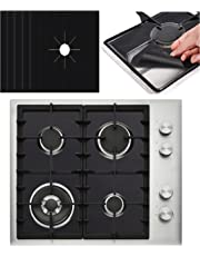 5 PACK PREMIUM Black Gas Stove Burner Covers - Stove Top Liner - Gas Range Protector