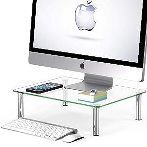SimpleHouseware Computer Monitor Riser, Glass