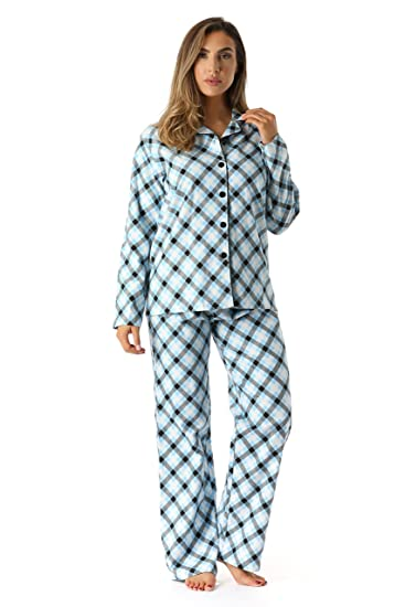 5299f95958 followme Printed Flannel Button Front PJ Pant Set at Amazon Women s ...
