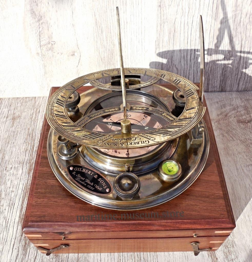 Large 8 Inch Perfectly Calibrated Big Sundial Compass with Rosewood Case Top Grade. C-3051 by MARINE ART HANDICRAFTS
