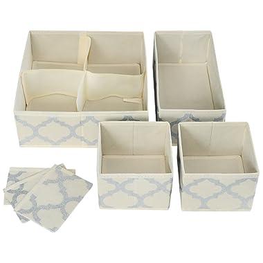 Set of 4 Organizer Bins with Dividers for Closet Dresser Drawer Inserts Bathroom Dorm or Baby Nursery; Store Socks Underwear Clothes; Clothing Organization; Organizador de Closet; (Set of 4, Beige)